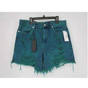 Blank NYC Hi-Rise Turquoise Fringe Hem Shorts